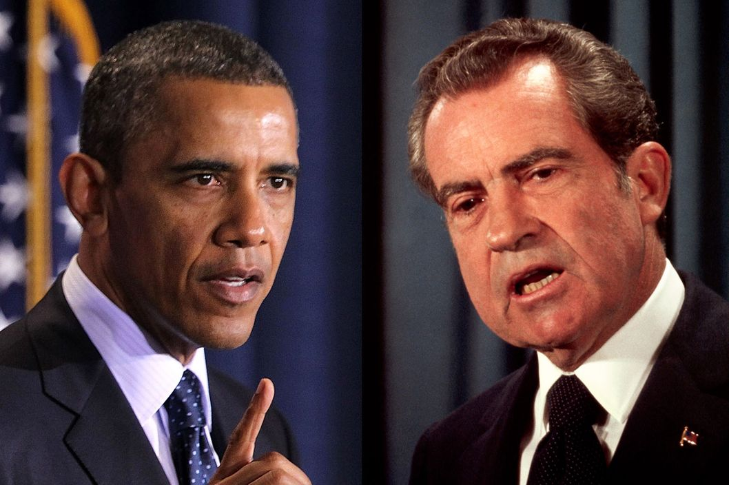 U.S. presidents Barack Obama and Richard Nixon.