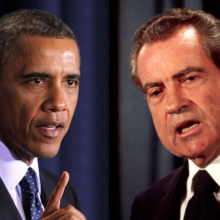 U.S. Presidents Barack Obama and Richard Nixon