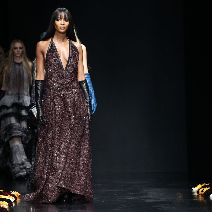 Naomi Campbell walks the runway at the Roberto Cavalli Autumn/Winter 2012/2013 fashion show as part of Milan Womenswear Fashion Week on February 27, 2012 in Milan, Italy.