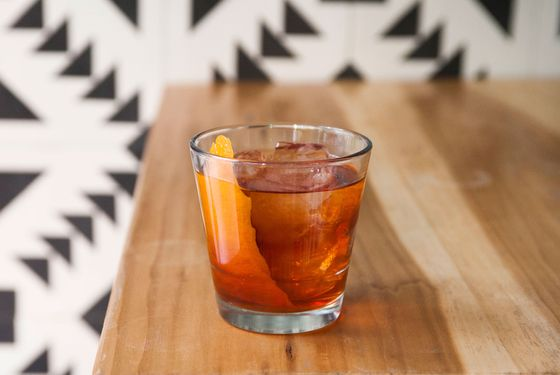 Javelina's Smokey Negroni - mezcal, Campari, sweet vermouth, habanero bitters, and orange peel.