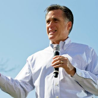 Republican presidential candidate, former Massachusetts Gov. Mitt Romney speaks to supporters during a campaign stop at Kirkwood Park March 13, 2012