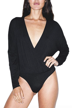 American Apparel Women's Mix Modal Long Sleeve Drape Bodysuit