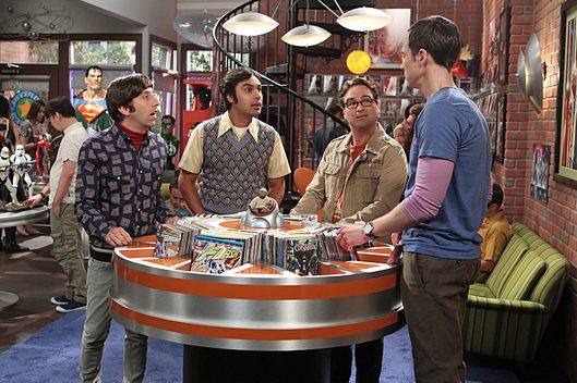 """The Hook-Up Reverberation"" -- The guys consider becoming part-owners in Stuart\'s comic book store, on THE BIG BANG THEORY, Monday, Oct. 6 (8:00-8:31, ET/PT), on the CBS Television Network. Pictured left to right: Simon Helberg, Kunal Nayyar, Johnny Galecki and Jim Parsons Photo: Sonja Flemming/CBS ?'??2014 CBS Broadcasting, Inc. All Rights Reserved."