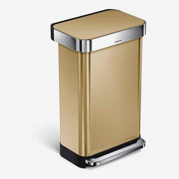 Simplehuman 45-Liter Rectangular Liner Rim Step Trash Can with Liner Pocket