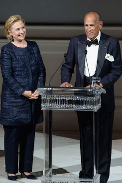 Hillary Rodham Clinton and Oscar de la Renta onstage at the 2013 CFDA Fashion Awards on June 3, 2013 in New York, United States.