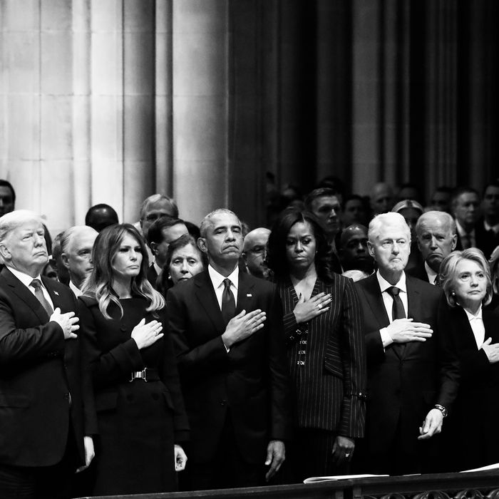 The front row at George H.W. Bush's funeral.