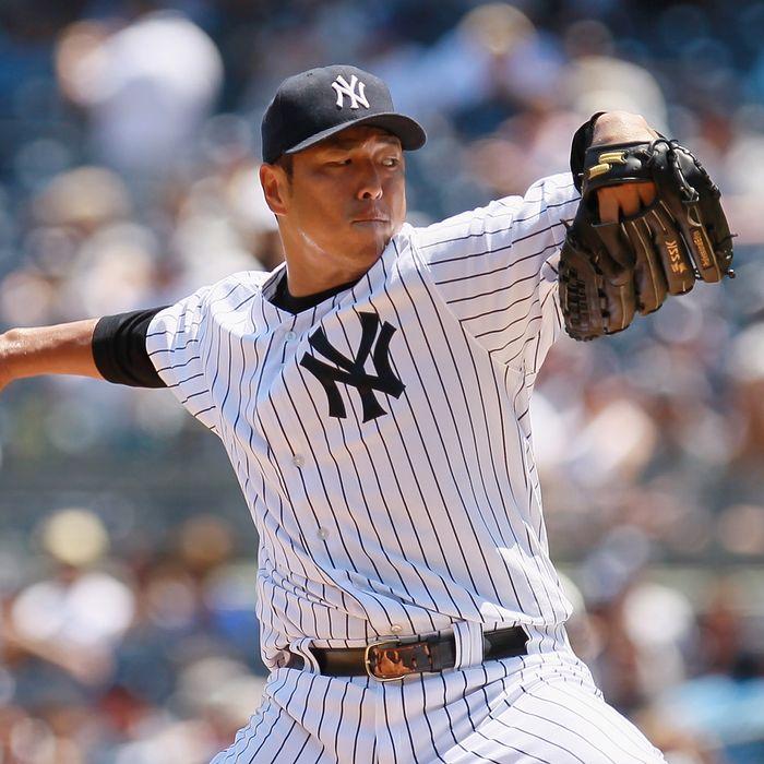 Hiroki Kuroda #18 of the New York Yankees pitches in the first-inning against the Chicago White Sox at Yankee Stadium on June 30, 2012 in the Bronx borough of New York City.
