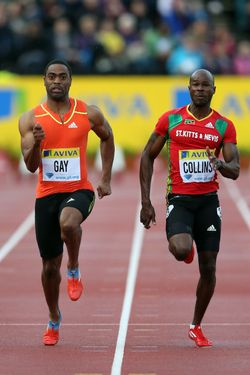 LONDON, ENGLAND - JULY 13:  Tyson Gay (L) of USA and Kim Collins of Saint Kitts and Nevis in action in the 100m during day one of the Aviva London Grand Prix at Crystal Palace on July 13, 2012 in London, England.  (Photo by Julian Finney/Getty Images)