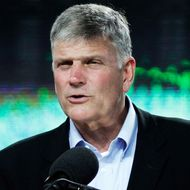 Franklin Graham speaking to the audience. Evengelist Franklin Graham concludes a two–day Festival o
