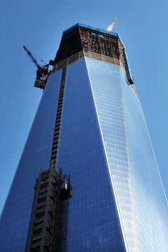 NEW YORK, NY - JANUARY 30:  One World Trade Center, the central skyscraper at Ground Zero, stands under construction on January 30, 2012 in New York City. The price tag for One World Trade has recently been valued at $3.8 billion, which would make it the world's most expensive new office tower. Most of the cost overruns are due to the security measures being taken in the design of the building which sits on a site that has been bombed twice by terrorists. To offset the costs of One World Trade Center, which is being built by the Port Authority of New York and New Jersey, higher bridge and tunnel tolls have been instated and there has been a reduction in spending on transportation infrastructure. The 1,776-foot skyscraper is expected to be completed at the end of 2013.  (Photo by Spencer Platt/Getty Images)