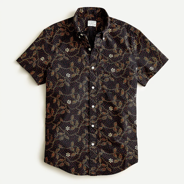 J.Crew Slim Short-Sleeve Stretch Secret Wash Shirt in Print