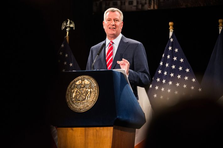 New York City Mayor Bill de Blasio delivers his State of the City address at Baruch College on February 3, 2015 in New York City.