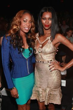 Olympic gold medalist Sanya Richards-Ross and model Jessica White attend the Herve Leger By Max Azria 2013 Mercedes-Benz Fashion Week Show at The Theatre Lincoln Center on September 8, 2012 in New York City.