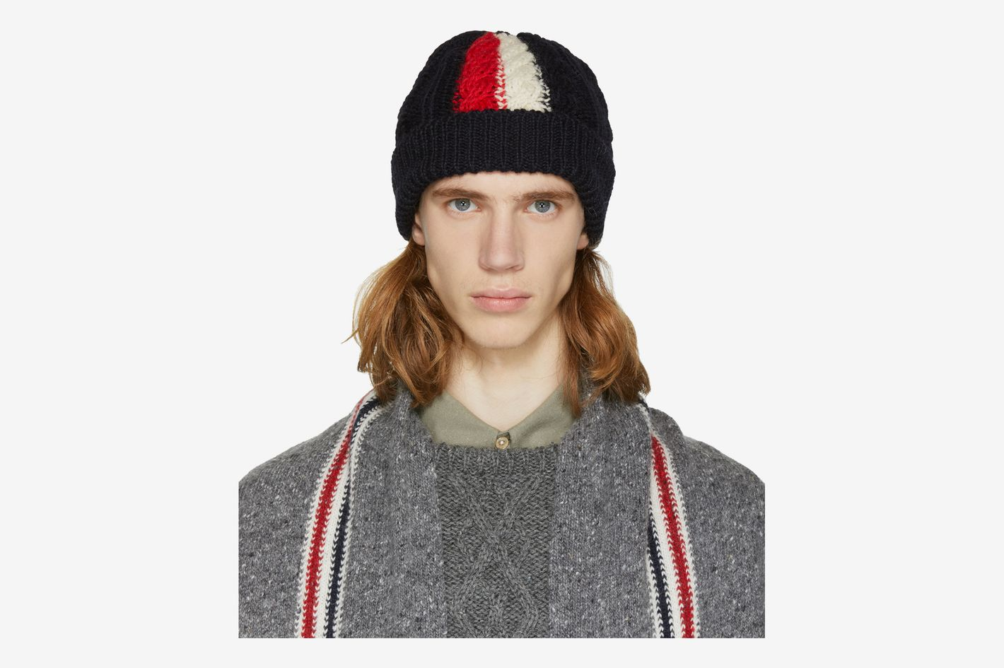 Thom Browne Navy Aran Cable Knit Beanie