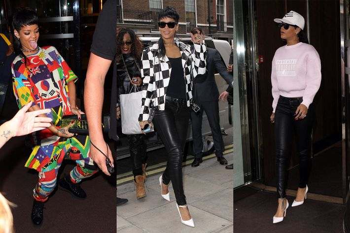Rihanna's three looks.