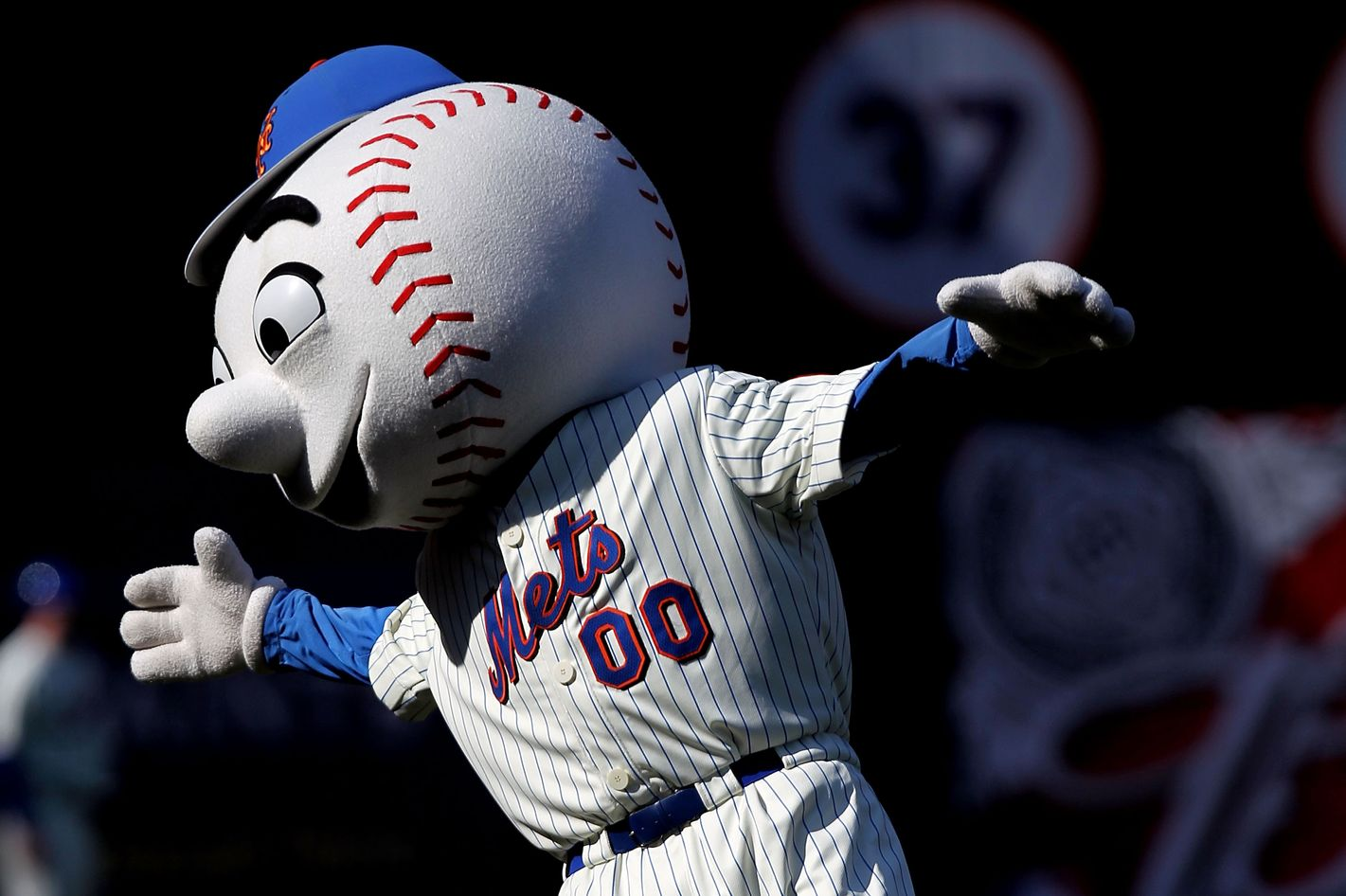 NEW YORK - APRIL 05: Mr. Met dances during the game between the New York Mets and the Florida Marlins during their Opening Day Game at Citi Field on April 5, 2010 in the Flushing neighborhood of the Queens borough of New York City.  (Photo by Nick Laham/Getty Images) *** Local Caption *** Mr. Met
