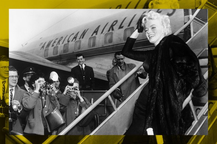 black and white photo of marilyn monroe getting off plane at idlewild airport - strategist best skin care products and best travel skin care