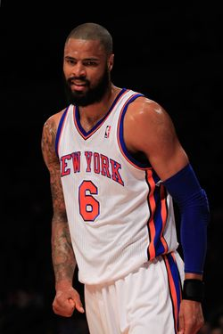 NEW YORK, NY - FEBRUARY 29: Tyson Chandler #6 of the New York Knicks reacts during the game against the Cleveland Cavaliers at Madison Square Garden on February 29, 2012 in New York City. NOTE TO USER: User expressly acknowledges and agrees that, by downloading and or using this photograph, User is consenting to the terms and conditions of the Getty Images License Agreement. (Photo by Chris Trotman/Getty Images)