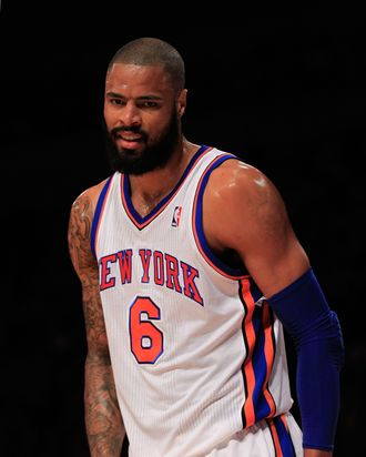 Tyson Chandler #6 of the New York Knicks reacts during the game against the Cleveland Cavaliers