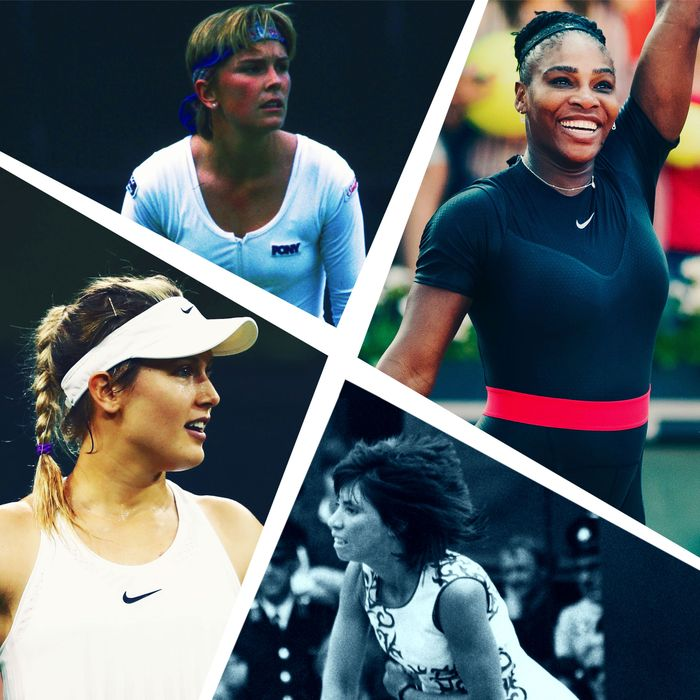 Serena Williams, Rosemary Casals, Eugenie Bouchard, and Anne White