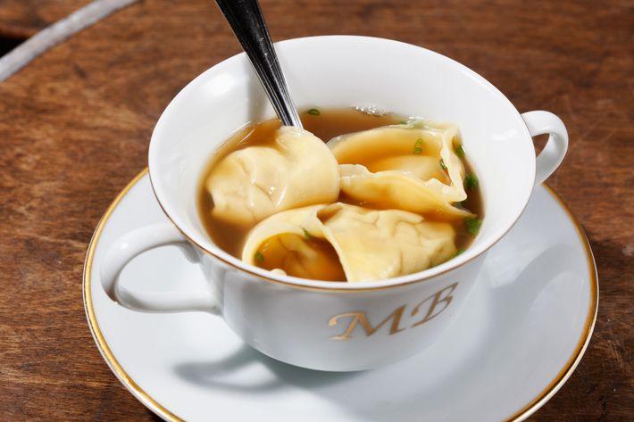Foie Gras Dumpling Consommé with chicken soup.
