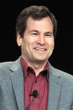 "PASADENA, CA - JANUARY 05:  Host David Pogue speaks onstage during the NOVA ""Hunting the Elements"" panel during the PBS portion of the 2012 Winter TCA Tour at The Langham Huntington Hotel and Spa on January 5, 2012 in Pasadena, California.  (Photo by Frederick M. Brown/Getty Images)"