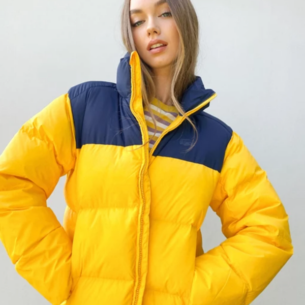 Lacoste Block Padded Coat in Yellow