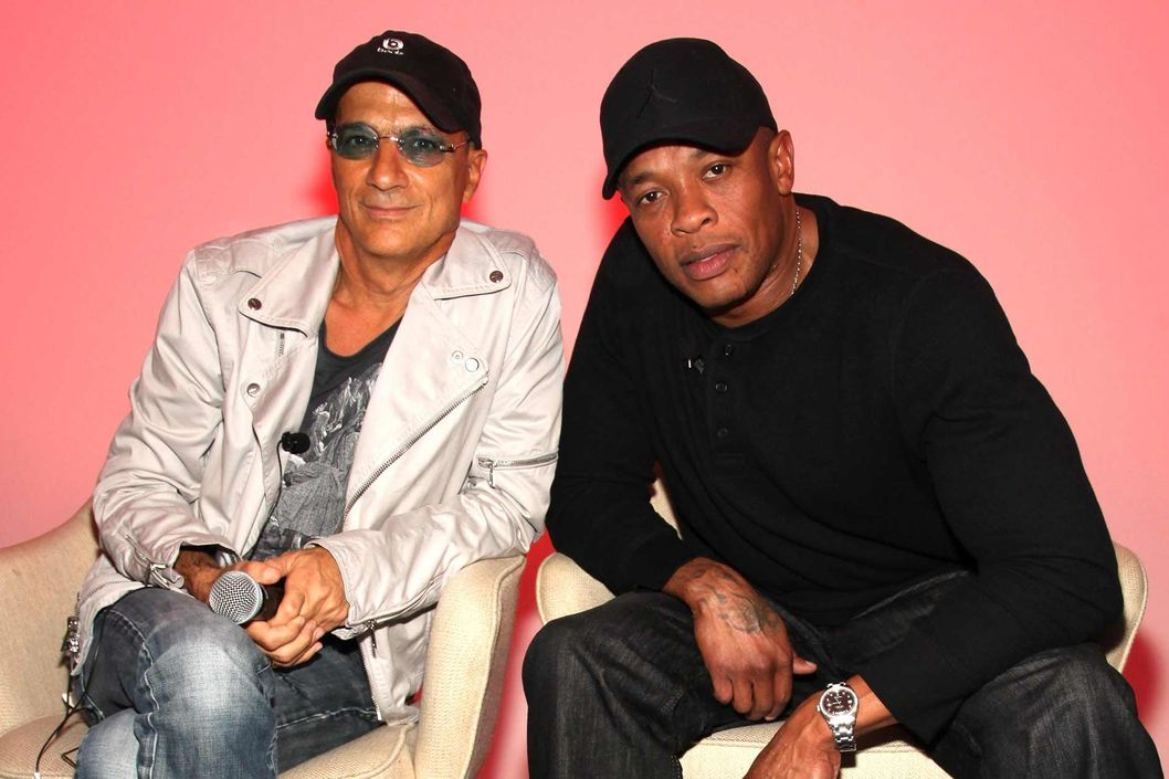 (L-R) Jimmy Iovine and Dr. Dre attend the Beats by Dre Holiday 2011 product line up unveiling at CLVT on October 11, 2011 in New York City.