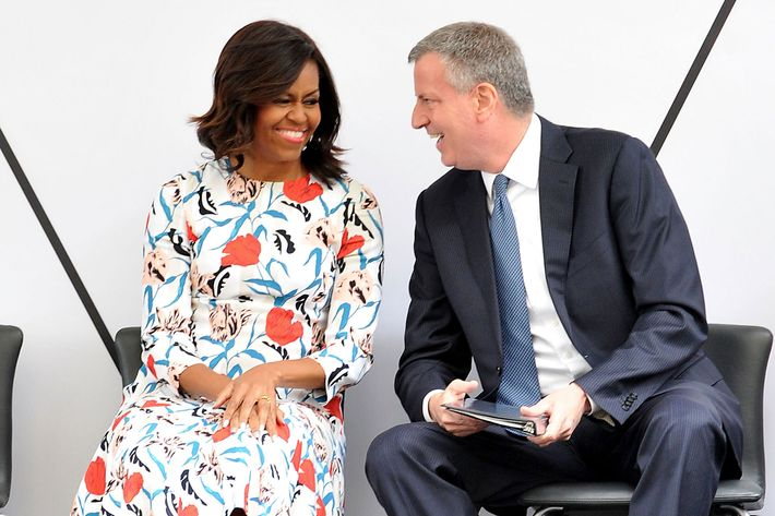 First Lady Michelle Obama and New York City Mayor Bill de Blasio attend the Whitney Museum Of American Art Ribbon Cutting Ceremony at The Whitney Museum of American Art on April 30, 2015 in New York City.