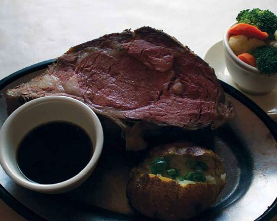Prime rib is another supper club essential dish, always accompanied by baked potato. (Schwarz's Supper Club, New Holstein)