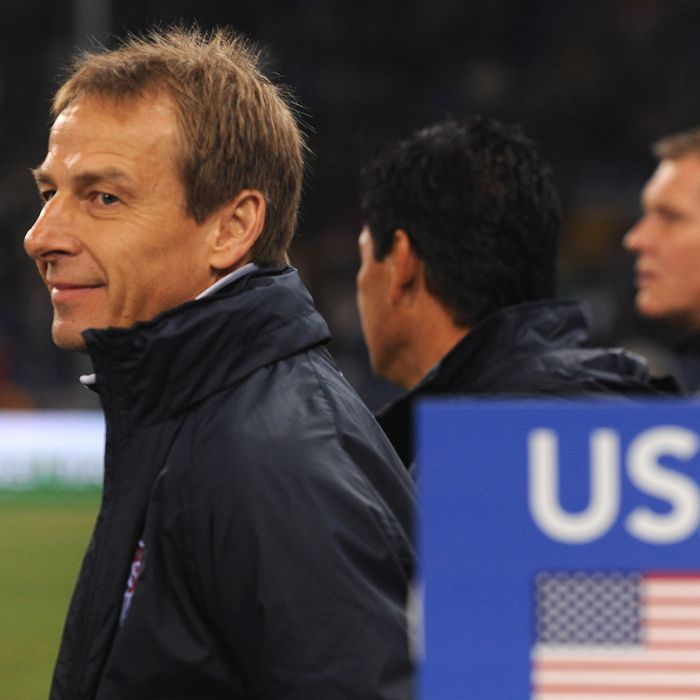USA head coach Jurgen Klinsmann looks on prior to the international friendly match between Italy and USA at Luigi Ferraris Stadium on February 29, 2012 in Genoa, Italy.