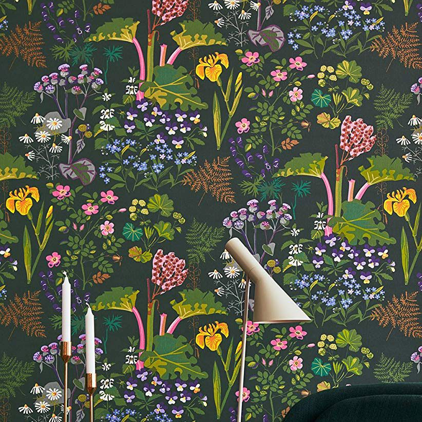 Wall Vision Rabarber Floral Wallpaper, Charcoal