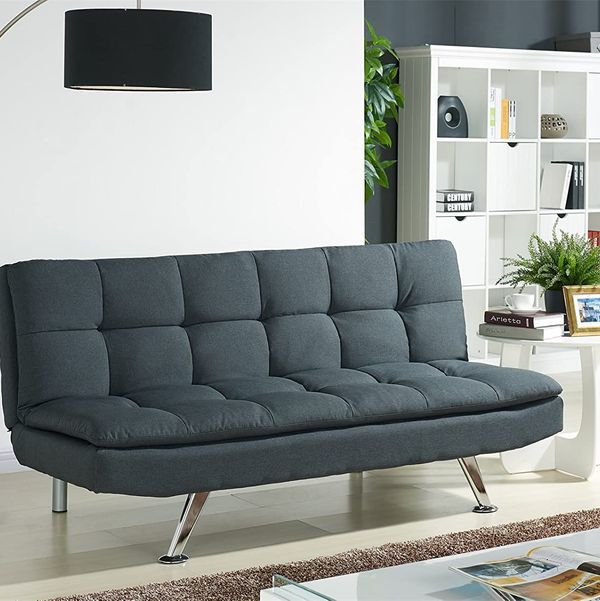 Modern Fabric 3 Seat Sofa Bed with Chrome Legs