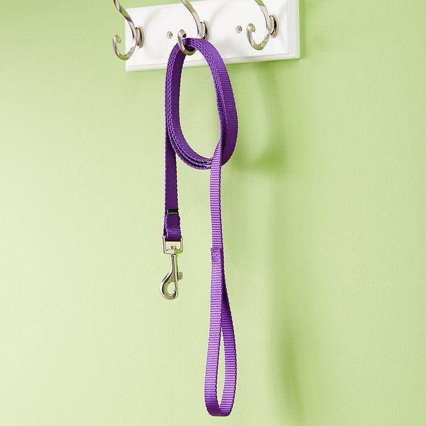Nylon Pet Double Leash Rope Double Handle Braided Dog Training Leash 2 Trigger Hooks Walking for Medium Small Dog Purple