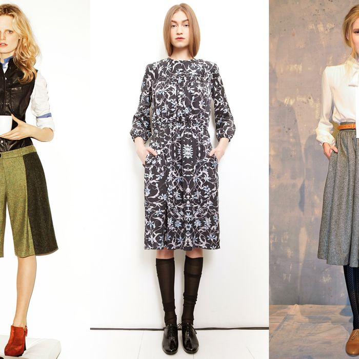 From left to right: Looks from 10 Crosby, Organic by John Patrick, and Steven Alan.