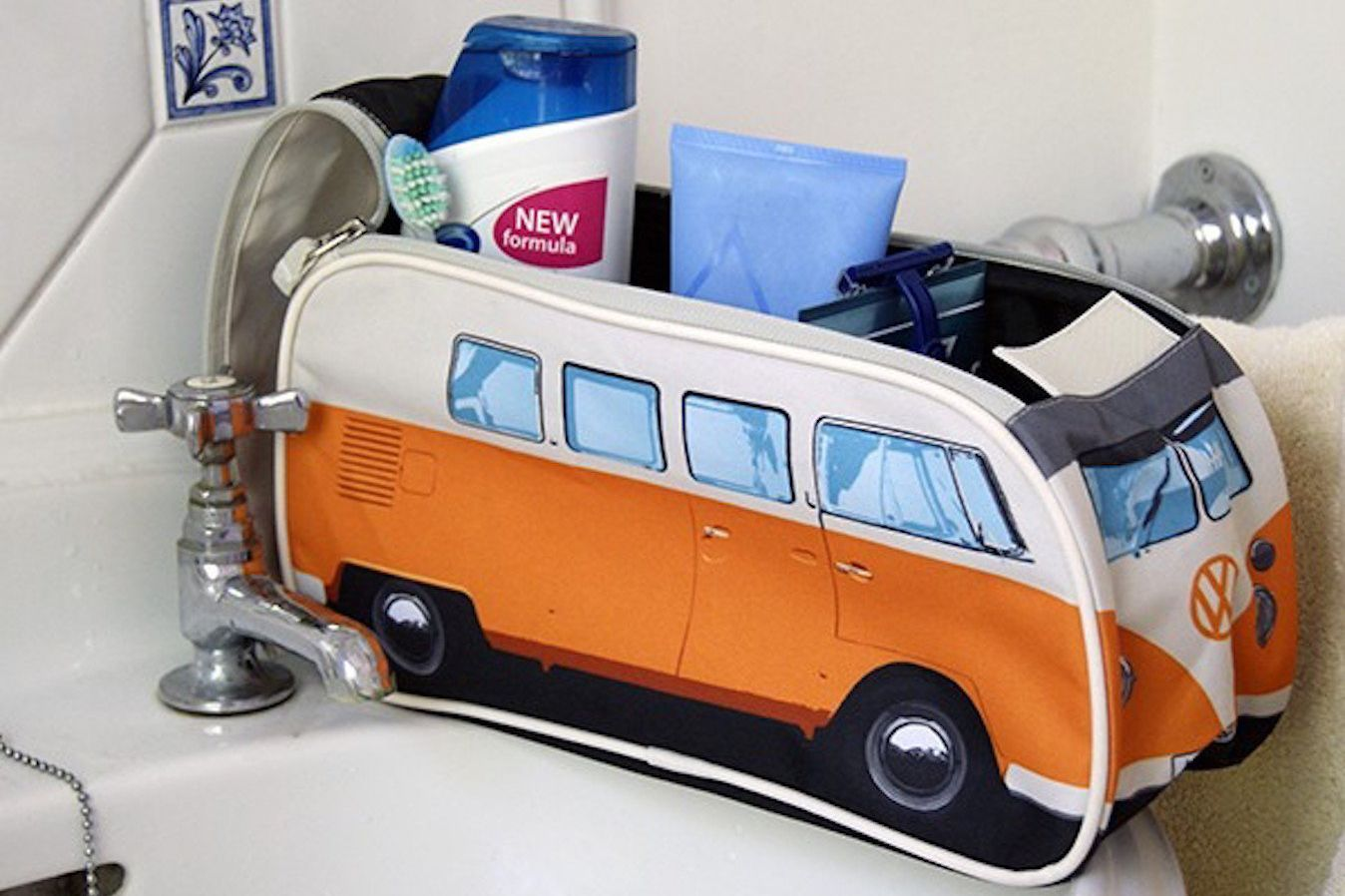 VW Volkswagen T1 Camper Van Toiletry Wash Bag — Orange