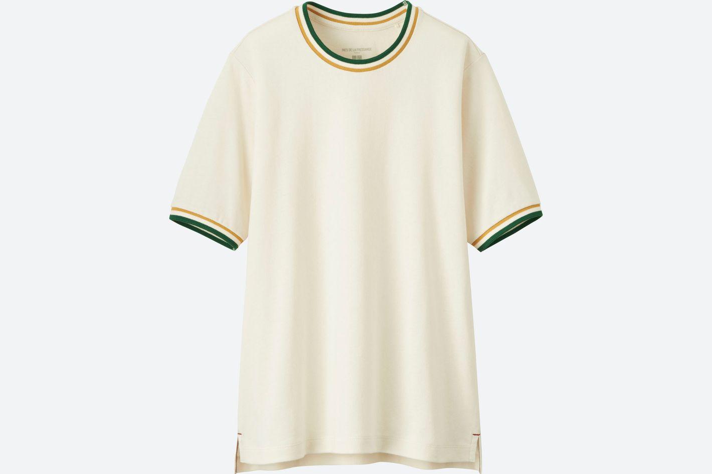 Women Cotton Line Crew Neck Short-Sleeve T-Shirt