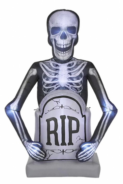Gemmy 10-Foot Photo-realistic Skeleton With Tombstone Air-Blown Halloween Inflatable