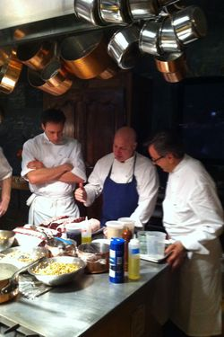Colicchio cooking alongside foodie-Olympian Garrett Weber-Gale and Daniel Boulud.