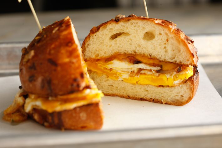The BEC classic: smoked bacon, sharp cheddar, brioche bun.