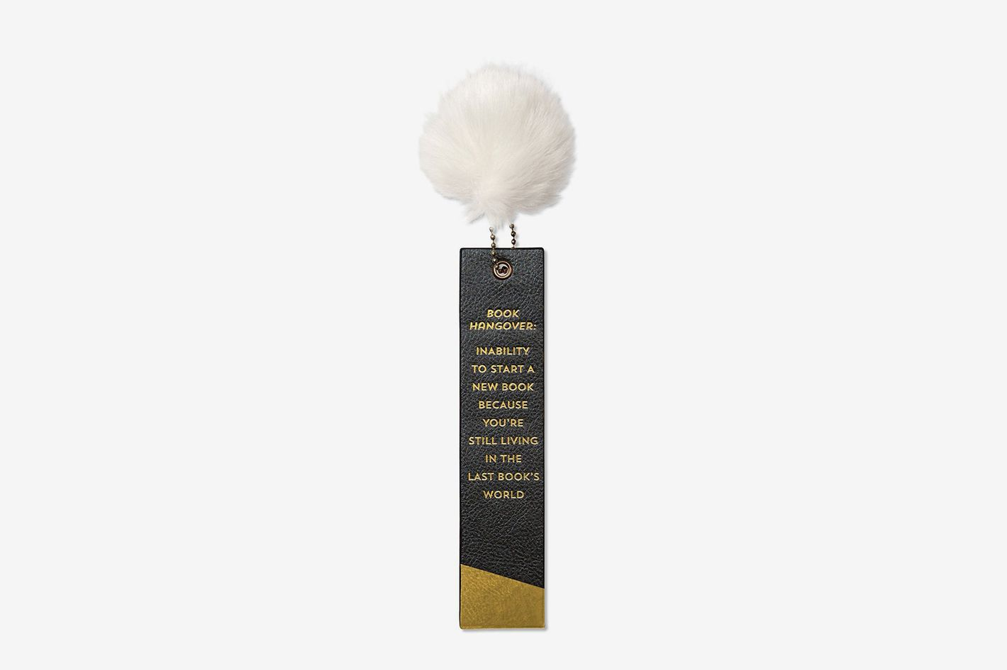 C.R. Gibson Leatherette Bookmark, Gold-Foil Lettering, Fur Pom-pom Accent