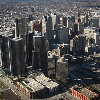 The General Motors (GM) world headquarters building stands tallest amidst the Renaissance Center in the skyline of city's downtown on November 21, 2008 in Detroit, Michigan.