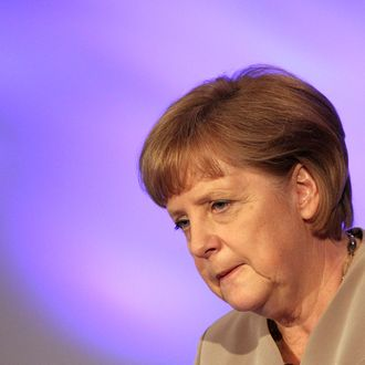 German Chancellor Angela Merkel speaks at the conference of the Economic Council of the CDU (Wirtschaftsrat der CDU) on June 12, 2012 in Berlin, Germany. Merkel said that Europe is at a crossroads between mastering its economic problems or sliding into global insignificance.