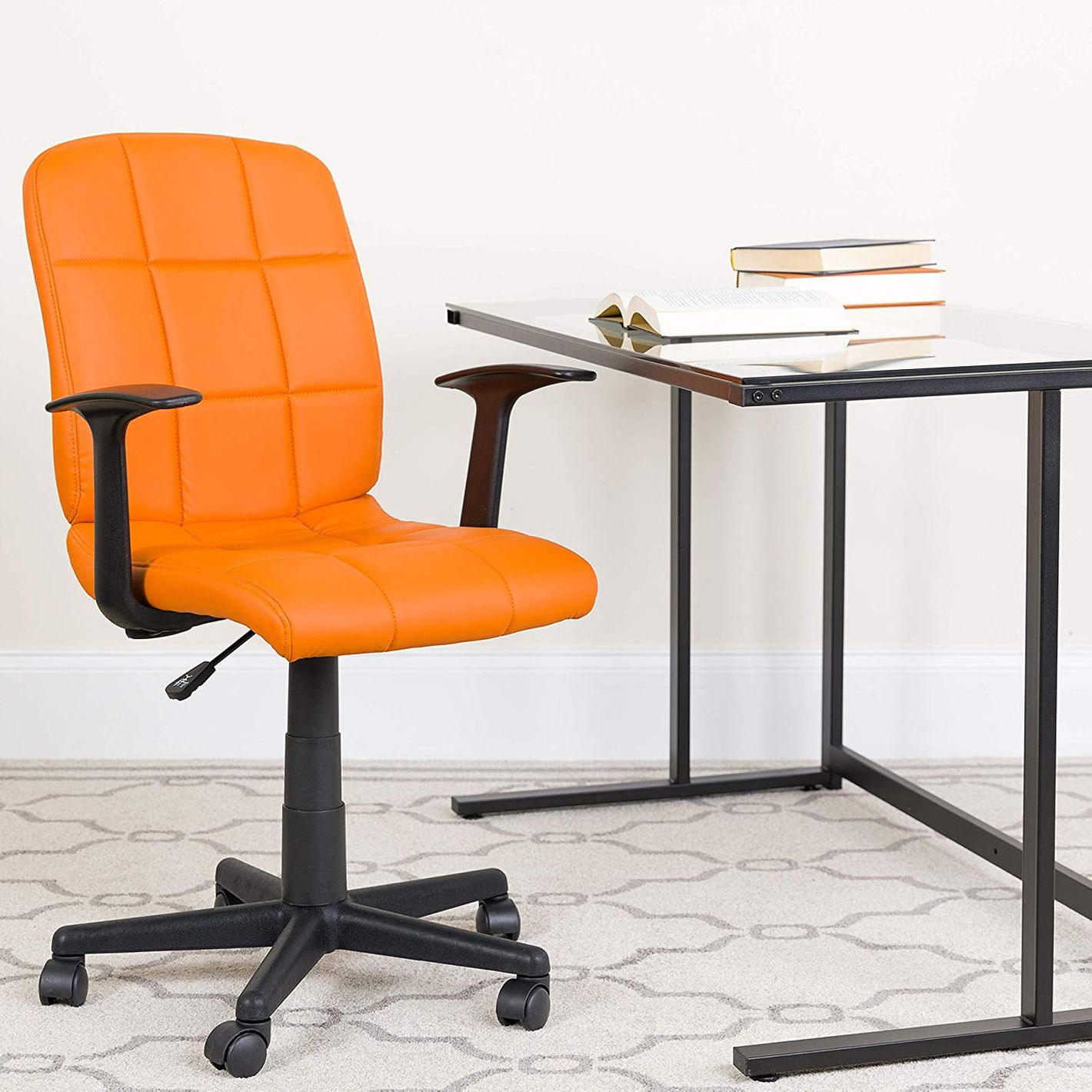 Flash Furniture Mid Back Orange Quilted Vinyl Swivel Task Chair With Arms