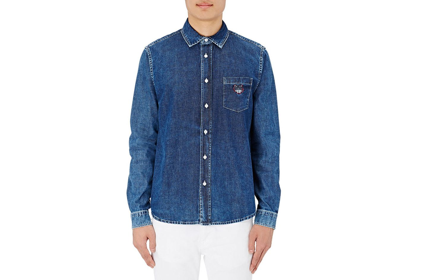 Kenzo Embroidered Chambray Shirt