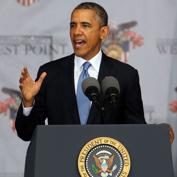 WEST POINT, NY - MAY 28: U.S. President Barack Obama gives the commencement address at the graduation ceremony at the U.S. Military Academy at West Point on May 28, 2014 in West Point, New York. In a highly anticipated speech on foreign policy, the President provided details on his plans for winding down America's military commitment in Afghanistan. Over 1,000 cadets are expected to graduate from the class of 2014 and will be commissioned as second lieutenants in the U.S. Army. (Photo by Spencer Platt/Getty Images)