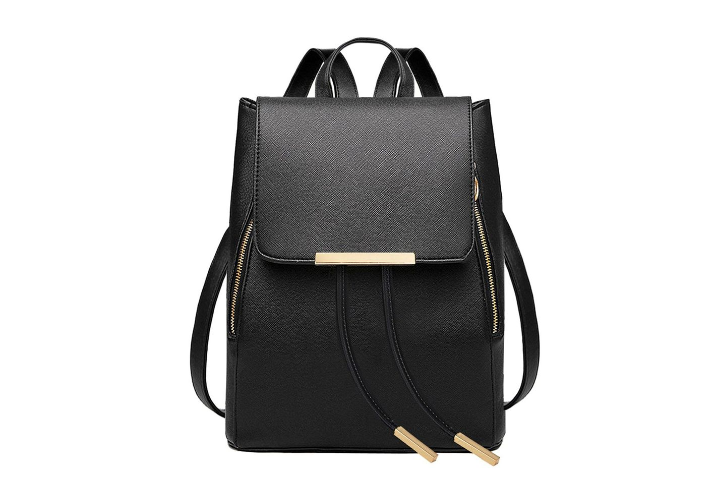 Coofit Black Leather Backpack for Women