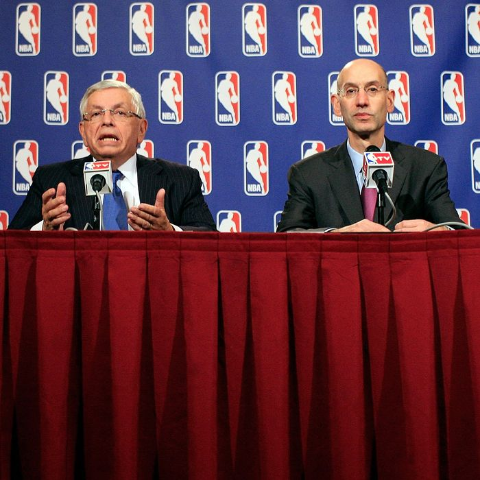 NEW YORK, NY - NOVEMBER 10: NBA Commissioner David Stern (L) and NBA Deputy Commissioner Adam Silver speak at a press conference after NBA labor negotiations at the New York Helmsley Hotel in the early morning hours of November 10, 2011 in New York City. (Photo by Patrick McDermott/Getty Images)