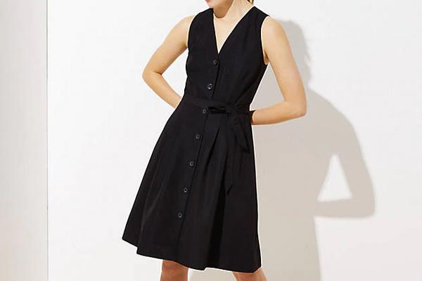 Loft Button Down Pocket Flare Dress in Black