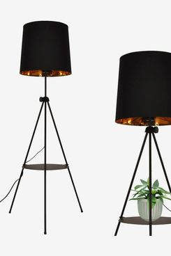 Contemporary Black Gold Shade Tripod Floor Lamp with Shelf